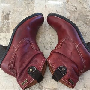 Pikolinos Andorra red  leather bootie size 7